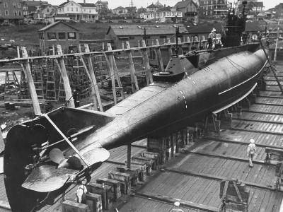 US Navy's Submarine Being Prepped for Launching at Submarine Base-Carl Mydans-Premium Photographic Print