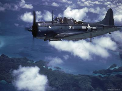 US Navy SBD Dauntless in Flight During Palau Islands Air Raid Attack-J^ R^ Eyerman-Photographic Print