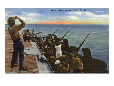 US Navy View - Anti-Aircraft Fire from U.S. Carrier-Lantern Press-Art Print