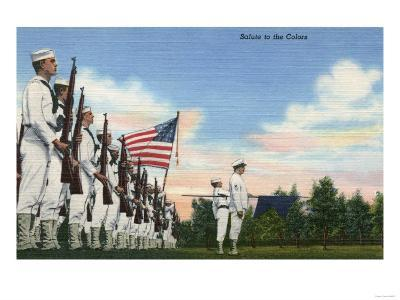 US Navy View - Salute to the Colors Formation-Lantern Press-Art Print