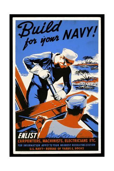 US Navy Vintage Poster - Build for Your Navy-Lantern Press-Art Print