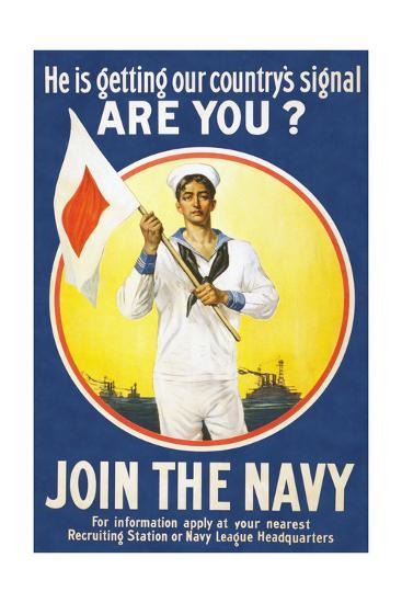 US Navy Vintage Poster - He Is Getting Our Country's Signal-Lantern Press-Art Print