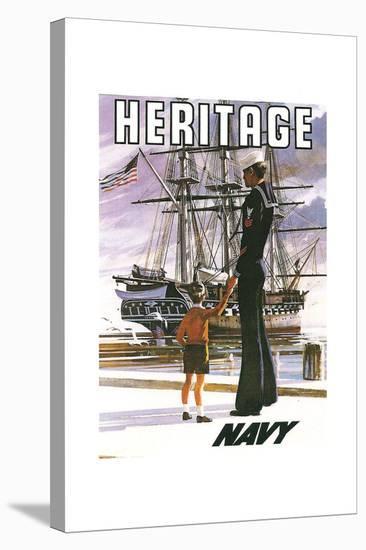 US Navy Vintage Poster - Heritage-Lantern Press-Stretched Canvas Print