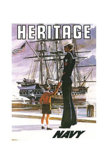 US Navy Vintage Poster - Heritage-Lantern Press-Art Print
