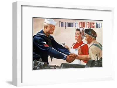 US Navy Vintage Poster - I'm Proud of You Folks Too-Lantern Press-Framed Art Print
