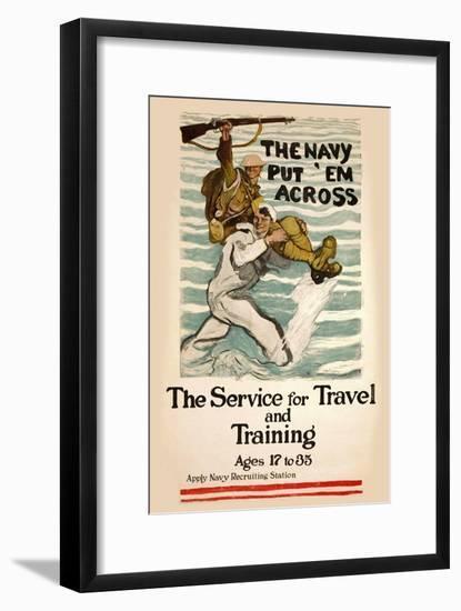 US Navy Vintage Poster - Put Em Across-Lantern Press-Framed Art Print