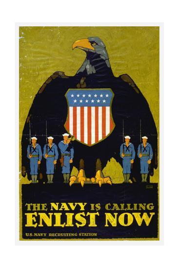 US Navy Vintage Poster - the Navy Is Calling-Lantern Press-Art Print