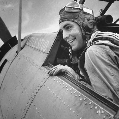 US Pilot at Midway Naval Base-Frank Scherschel-Photographic Print