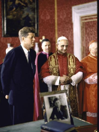 US Pres. Kennedy Meeting with Newly Crowned Pope Paul VI in the Pontiff's Library-John Dominis-Photographic Print