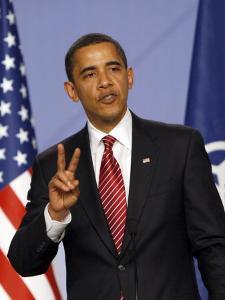 US President Barack Obama Speaking at a Media Conference at the NATO Summit in Strasbourg, France