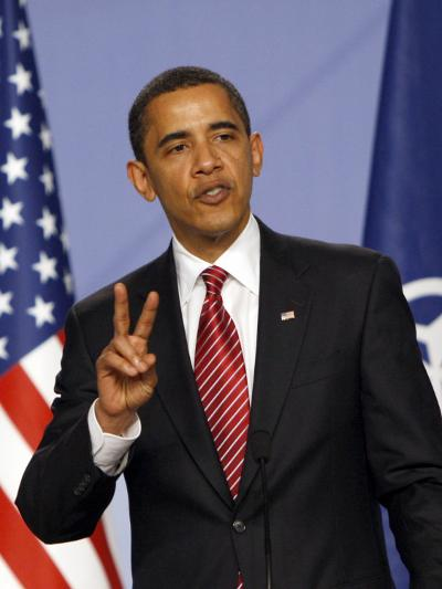 US President Barack Obama Speaking at a Media Conference at the NATO Summit in Strasbourg, France--Photographic Print