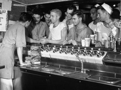 US Sailors Crowding around the Soda Fountain Aboard a Battleship-Carl Mydans-Premium Photographic Print