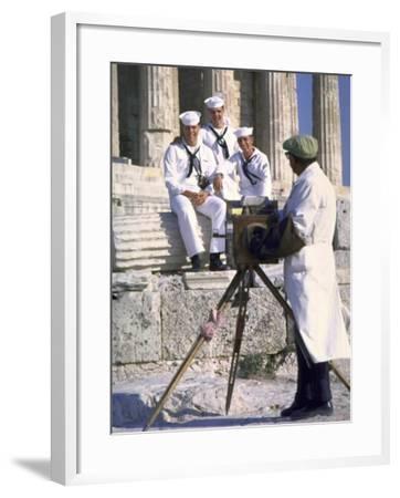 US Sailors Taking Photo at Greek Ruins-John Dominis-Framed Photographic Print