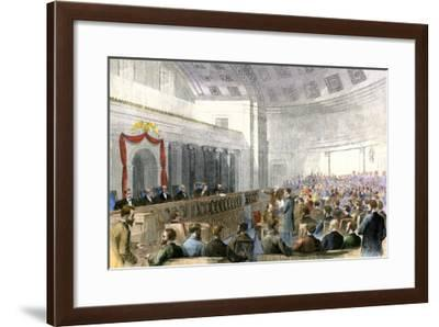 Us Supreme Court under Chief Justice Salmon P. Chase Hearing the Mississippi Injunction Case, 1867--Framed Giclee Print