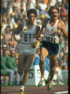 US Track Athlete Steve Prefontaine and Emiel Puttemans Running a Race at the Summer Olympics