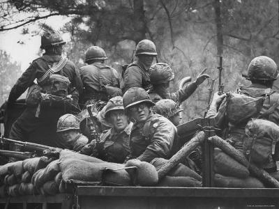 US Trainees at Fort Polk, Undergoing Vietnam Oriented Training, Where They Are About to Be Ambushed-Lynn Pelham-Photographic Print