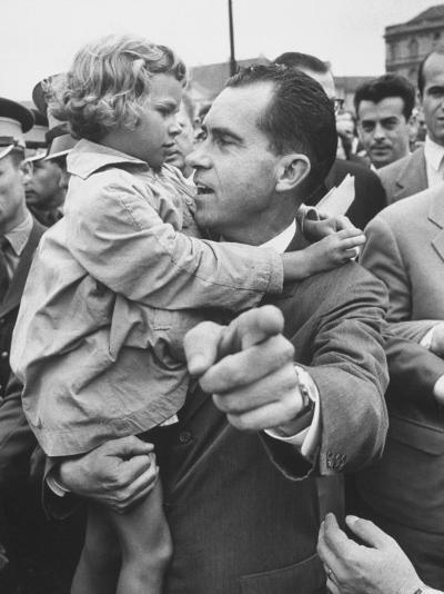 US Vice-President Richard M. Nixon Holding a Little Polish Girl--Photographic Print
