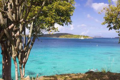 Us Virgin Island, St John. View of St Thomas Sailboats and Snorkelers-Trish Drury-Photographic Print