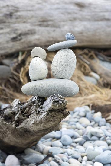 Us, Wa, Dungeness Spit. Rock Cairns on Driftwood-Trish Drury-Photographic Print