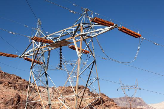 USA, Arizona and Nevada, Hoover Dam, Power Poles-Catharina Lux-Photographic Print