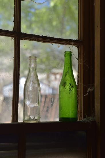 USA, Arizona, Jerome, Gold King Mine. Old Bottles in a Window-Kevin Oke-Photographic Print
