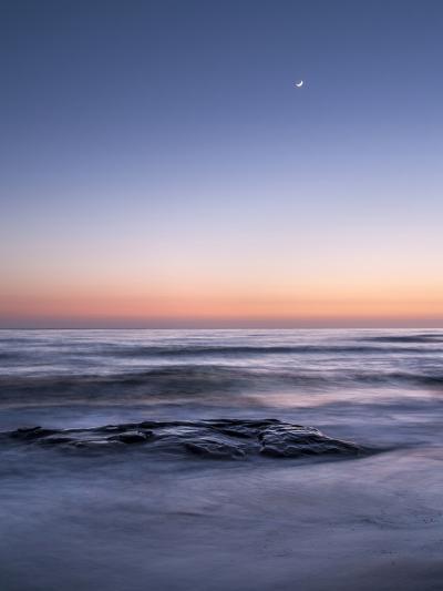 USA, California, La Jolla. Crescent Moon at Twilight over Windansea Beach-Ann Collins-Photographic Print