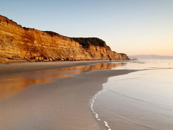 USA, California, La Jolla. Low Tide Cliff Reflections at Torrey Pines State Beach-Ann Collins-Photographic Print