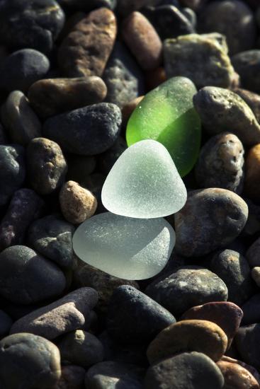 USA, California, La Jolla. Sea glass on cobblestone beach.-Jaynes Gallery-Photographic Print