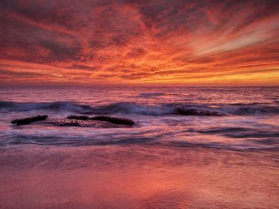 USA, California, La Jolla. Sunset at North End of Windansea Beach-Ann Collins-Photographic Print