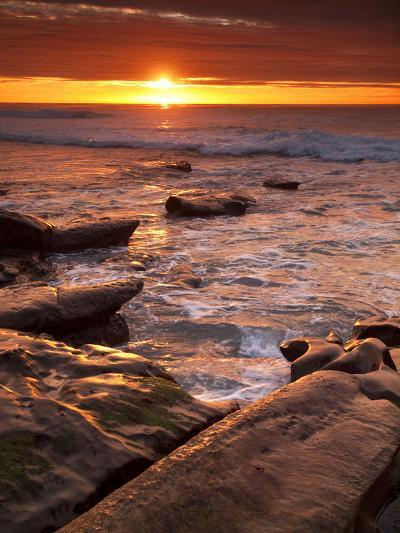 USA, California, La Jolla. Sunset over Tide Pools at Coast Blvd. Park-Ann Collins-Photographic Print