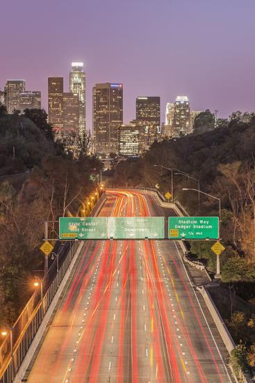 USA, California, Los Angeles 110 Freeway and Downtown-Rob Tilley-Photographic Print