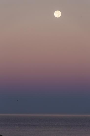 USA, California, Moonset over Pacific Ocean-John Ford-Photographic Print