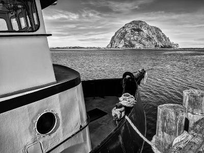 USA, California, Morro Bay, Fishing Boat Pointing at Morro Rock-Ann Collins-Photographic Print