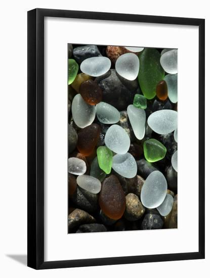 USA, California. Natural sea glass on beach.-Jaynes Gallery-Framed Photographic Print