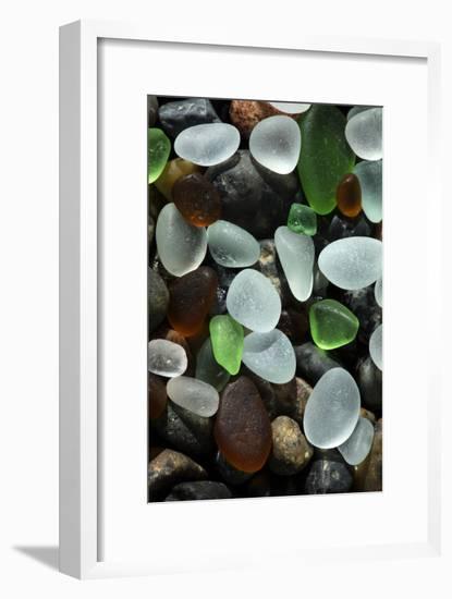 USA, California. Natural sea glass on beach.-Jaynes Gallery-Framed Photographic Print