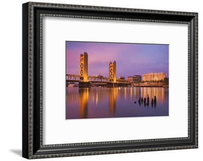USA, California, Sacramento. Sacramento River and Tower Bridge at sunset.-Jaynes Gallery-Framed Photographic Print