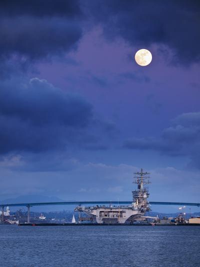 USA, California, San Diego, Uss Nimitz Moored under Full Moon in San Diego Bay-Ann Collins-Photographic Print