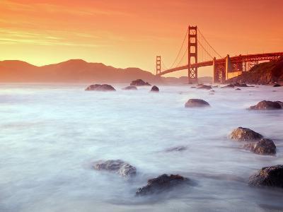 USA, California, San Francisco, Golden Gate Bridge from Marshall Beach-Alan Copson-Photographic Print