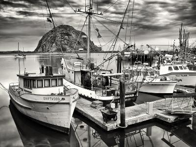 USA, California, Sepia-Tinted Fishing Boats Docked in Morro Bay at Dawn-Ann Collins-Photographic Print