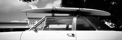 Usa, California, Surf Board on Roof of Car--Photographic Print