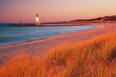 USA Charlevoix Lighthouse and Beach at Sunset--Photographic Print