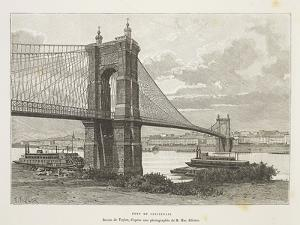 Usa, Cincinnati, Bridge over Ohio River from Nouvelle Geographie Universelle by Elisee Reclus