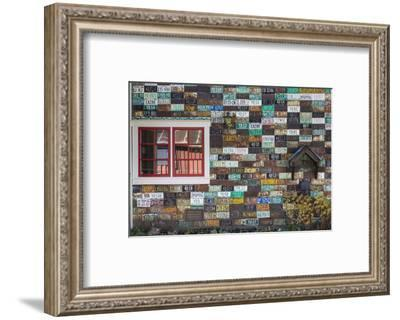 USA, Colorado, Crested Butte. Old License Plates on Building Wall-Jaynes Gallery-Framed Photographic Print
