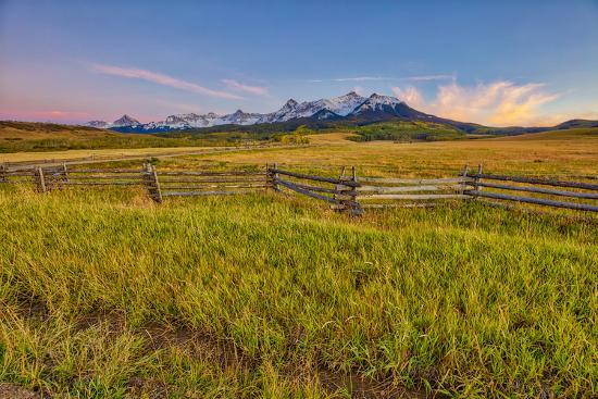 USA, Colorado. Meadow and fence landscape at sunset.-Jaynes Gallery-Photographic Print