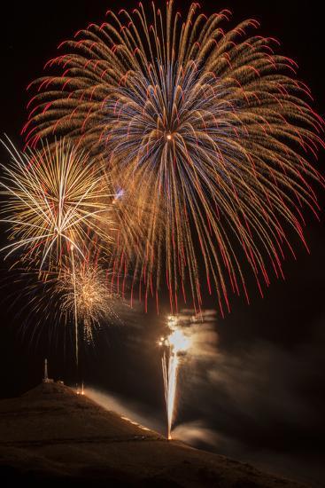 USA, Colorado, Salida. July 4th Fireworks Display-Don Grall-Photographic Print
