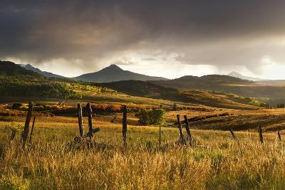 USA, Colorado, San Juan Mountains. Landscape and Fence at Sunset-Jaynes Gallery-Photographic Print