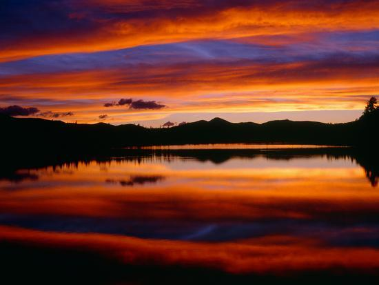 USA, Colorado, Sunset Ignites the Sky over Echo Lake, Arapaho National Forest-John Barger-Photographic Print