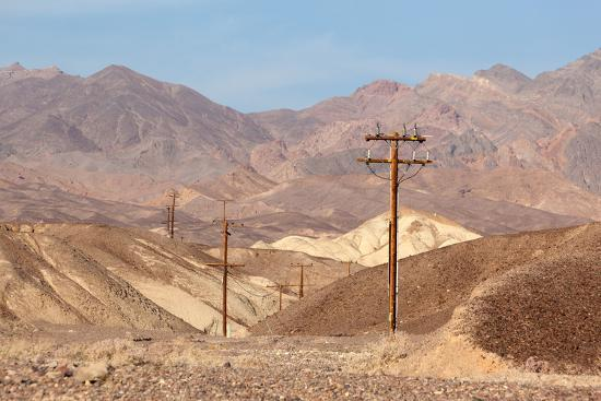USA, Death Valley National Park, Power Poles-Catharina Lux-Photographic Print