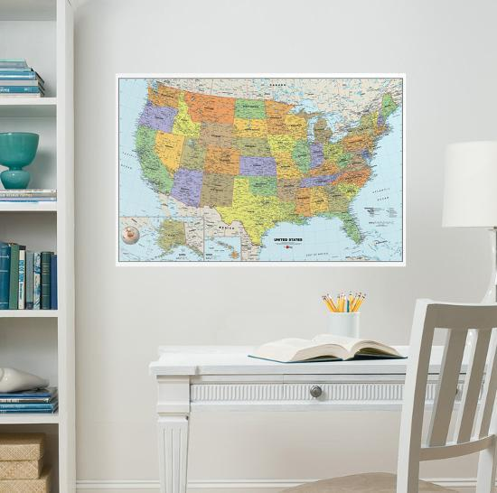 USA Dry-Erase Map Wall Decal Sticker Wall Decal by   Art.com