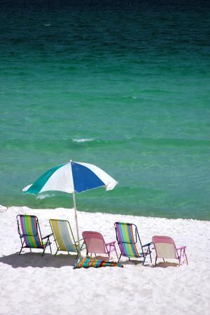 USA, Florida. Beach Chairs On The Emerald Coast, Destin.By Anna Miller